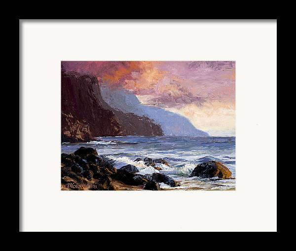 Ocean Framed Print featuring the painting Coastal Cliffs Beckoning by Mary Giacomini