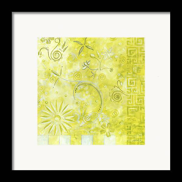 Coastal Framed Print featuring the painting Coastal Decorative Citron Green Floral Greek Checkers Pattern Art Green Whimsy By Madart by Megan Duncanson