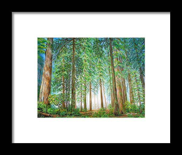 Trees Framed Print featuring the painting Coastal Redwoods by Jane Girardot