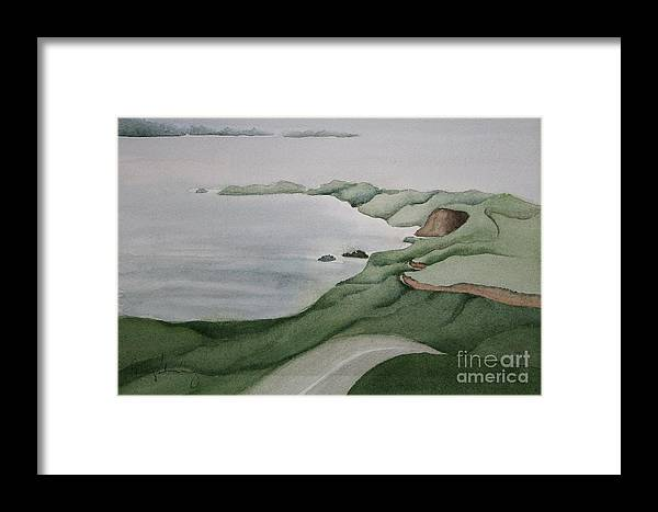 Ca Coast Framed Print featuring the painting Coastal Ribbon by Penny Stroening