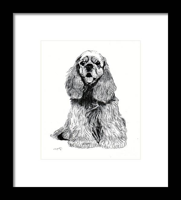 Framed Print featuring the painting Cocker Spaniel Puppy by Merri aka Cathy Friesenhahn