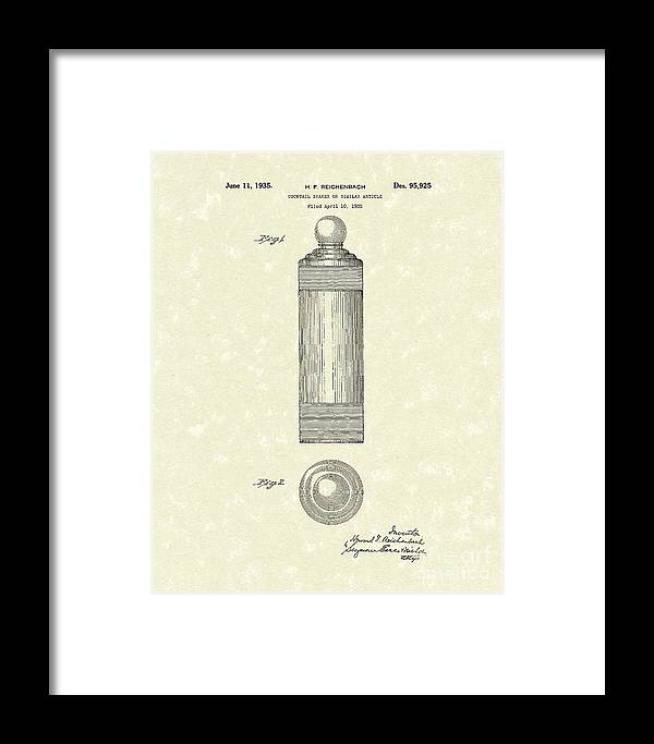 Reichenbach Framed Print featuring the drawing Cocktail Shaker 1935 Patent Art by Prior Art Design