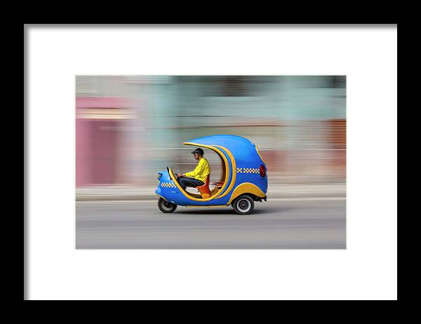 People Framed Print featuring the photograph Coco Taxi On The Move by Adam Jones