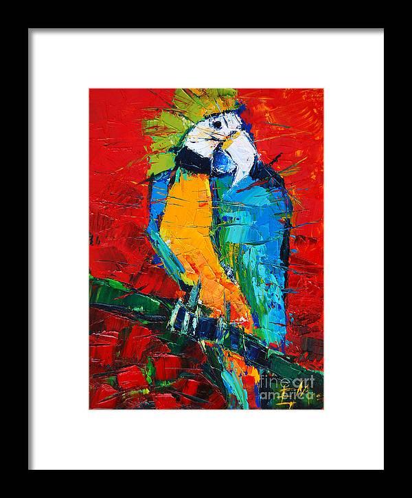 Coco The Talkative Parrot Framed Print featuring the painting Coco The Talkative Parrot by Mona Edulesco