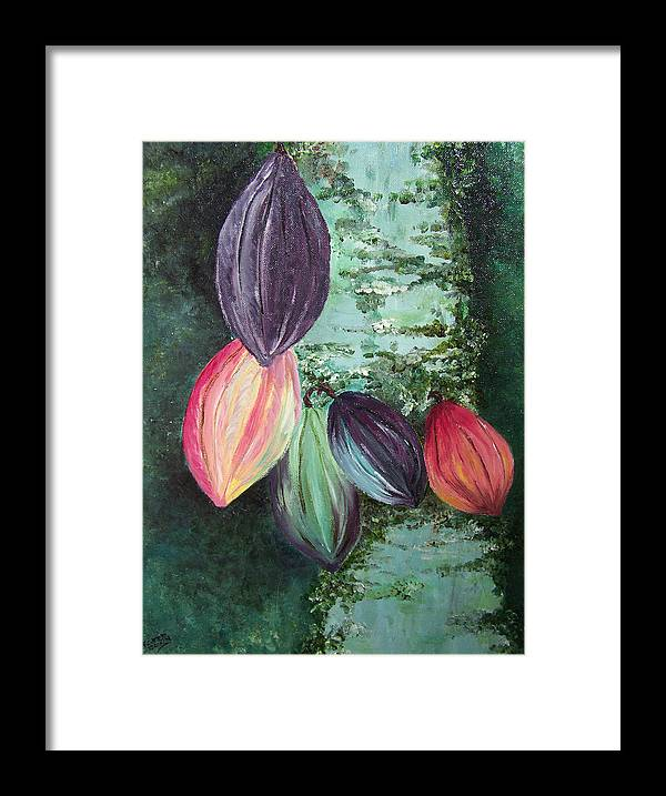 Cocoa On The Tree Framed Print featuring the painting Cocoa Pods by Karin Dawn Kelshall- Best