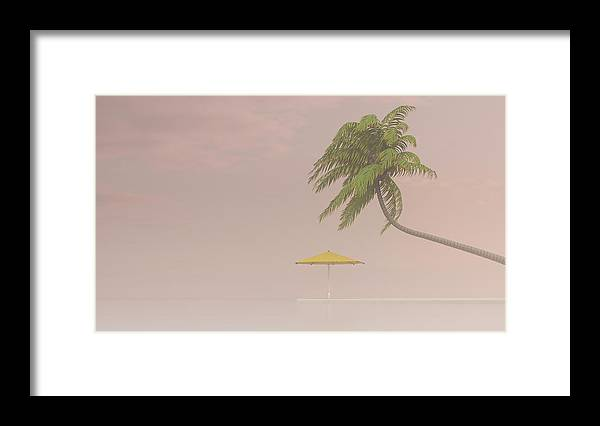 Tranquility Framed Print featuring the digital art Coconut Palm And Sunshade In Haze, 3d by Westend61