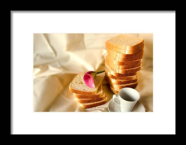Backgrounds Framed Print featuring the photograph Coffe Bread And Flower In A White Background by Joel Vieira