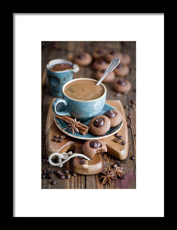 Temptation Framed Print featuring the photograph Coffee And Cookies by Verdina Anna