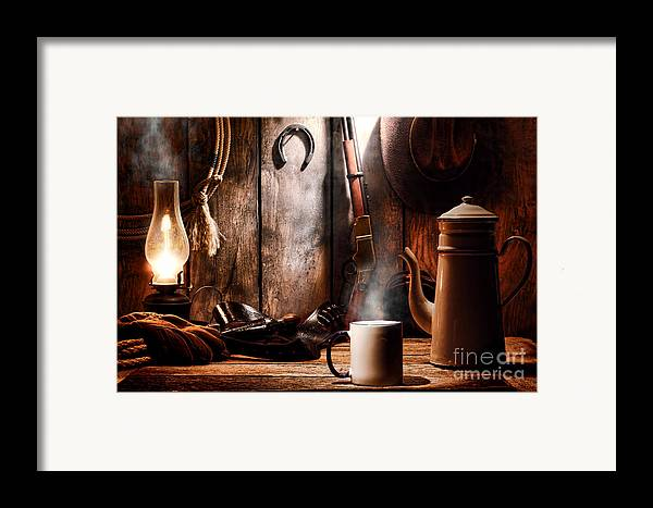 Coffee Framed Print featuring the photograph Coffee At The Cabin by Olivier Le Queinec