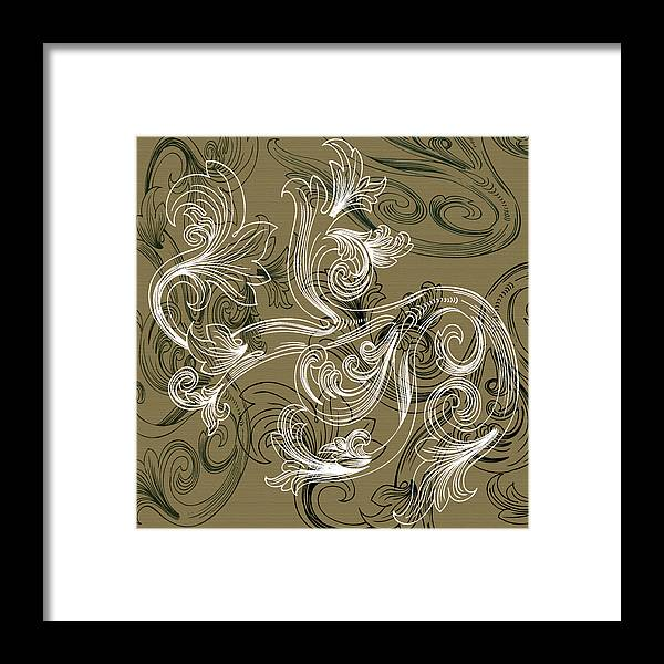 Flowers Framed Print featuring the digital art Coffee Flowers 2 Olive by Angelina Tamez