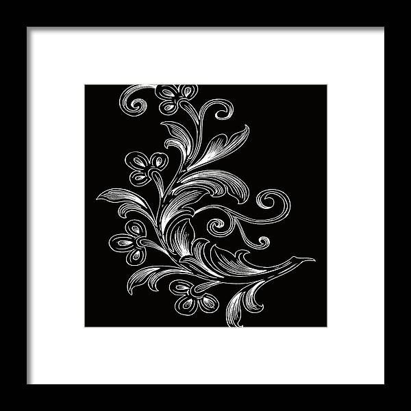 Flowers Framed Print featuring the digital art Coffee Flowers 4 Bw by Angelina Vick