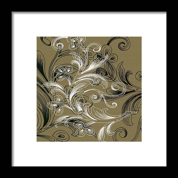 Flowers Framed Print featuring the digital art Coffee Flowers 4 Olive by Angelina Tamez