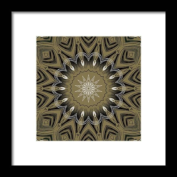 Intricate Framed Print featuring the digital art Coffee Flowers 4 Olive Ornate Medallion by Angelina Vick