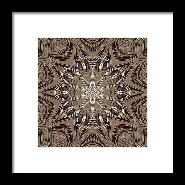 Intricate Framed Print featuring the digital art Coffee Flowers 4 Ornate Medallion by Angelina Vick