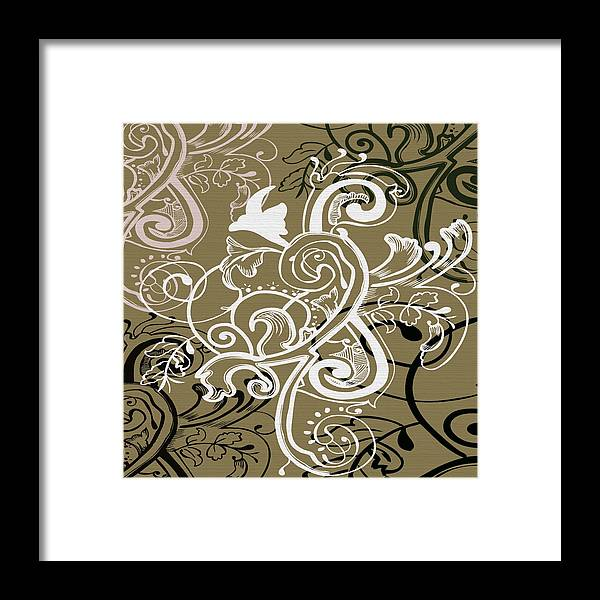 Flowers Framed Print featuring the digital art Coffee Flowers 5 Olive by Angelina Vick