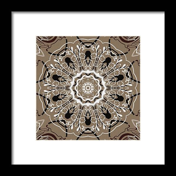 Intricate Framed Print featuring the digital art Coffee Flowers 5 Ornate Medallion by Angelina Vick