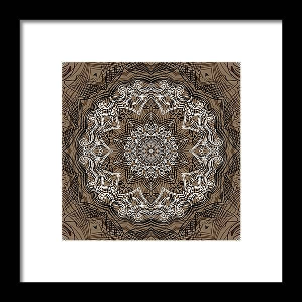 Intricate Framed Print featuring the digital art Coffee Flowers 6 Ornate Medallion by Angelina Vick