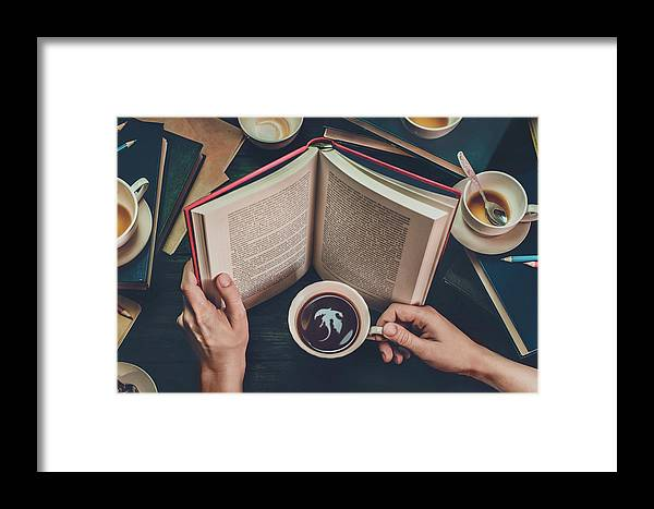 Read Framed Print featuring the photograph Coffee For Dreamers by Dina Belenko