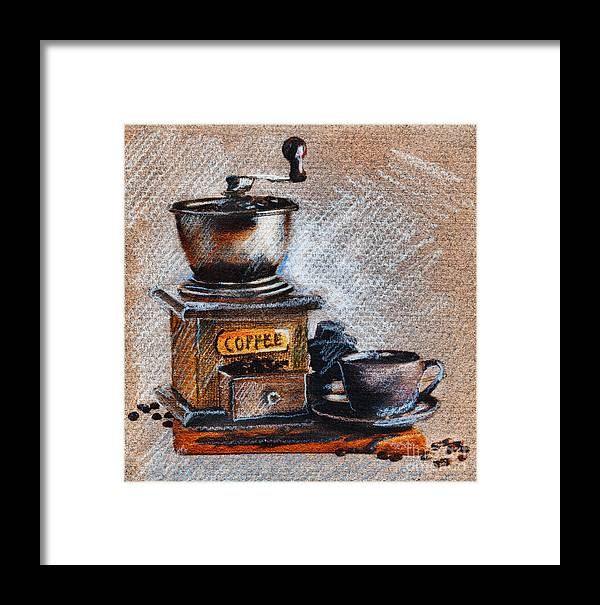 Coffee Grinder Framed Print featuring the drawing Coffee Grinder by Daliana Pacuraru