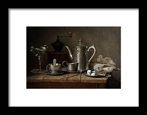 Fine Art Photograph Framed Print featuring the photograph Coffee Has Gone by Helen Tatulyan