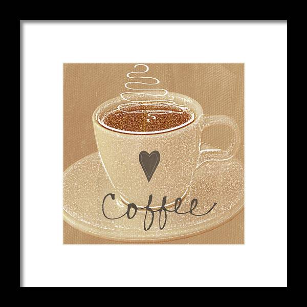 Coffee Framed Print featuring the painting Coffee Love In Mocha by Linda Woods