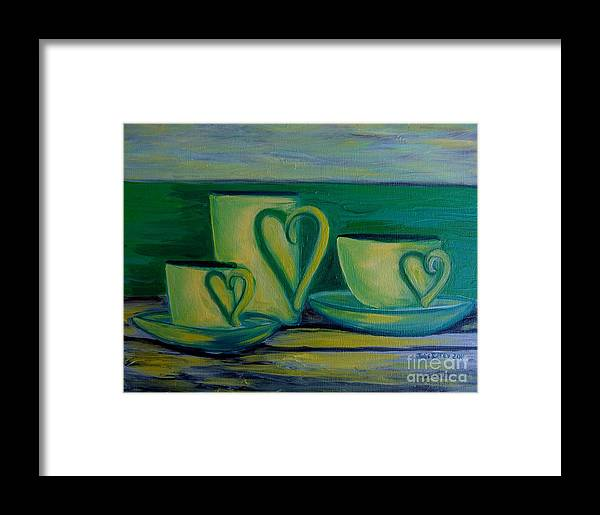 Coffee Framed Print featuring the painting Coffee Lovers by Julie Brugh Riffey