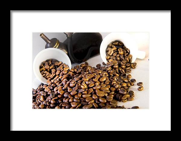 Africa Framed Print featuring the photograph Coffee Pot Two Coffee Cup And Coffee Beans by Joel Vieira