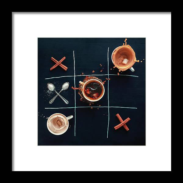 Milk Framed Print featuring the photograph Coffee Tic-tac-toe by Dina Belenko Photography