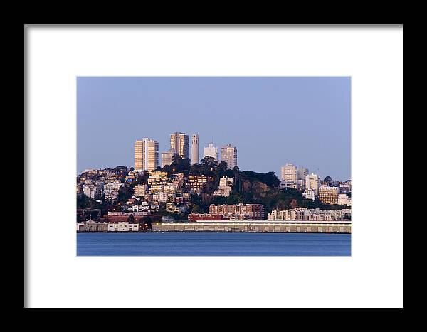 Coit Tower Framed Print featuring the photograph Coit Tower Sits Prominently On Top Of Telegraph Hill In San Fran by Scott Lenhart