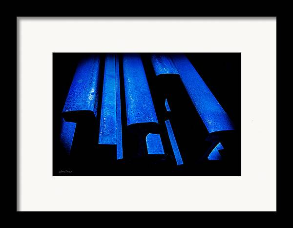 Abstracts Framed Print featuring the photograph Cold Blue Steel by Steven Milner