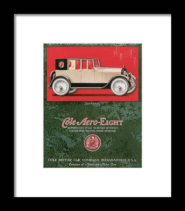 1920 Framed Print featuring the drawing Cole Aero Eight Vintage Poster by World Art Prints And Designs