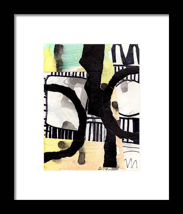Abstract Framed Print featuring the mixed media Collage Drawing Two by Richard Allen