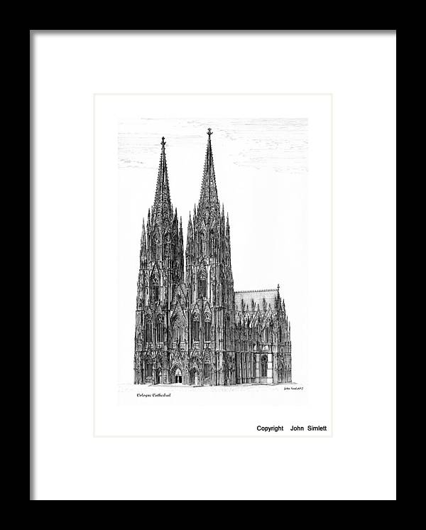 Cologne Cathedral Framed Print featuring the drawing Cologne Cathedral by John Simlett