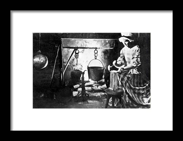 Colonial Candle Making Framed Print By Granger