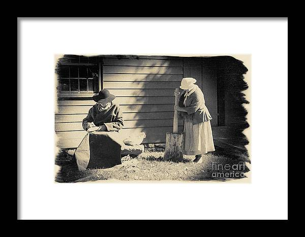 Photograph Framed Print featuring the photograph Colonial Chores by Jan Tyler