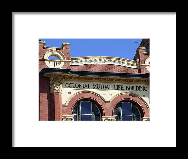 Colonial Mutual Building Framed Print featuring the photograph Colonial Mutual Windows - 3 by Michaela Perryman