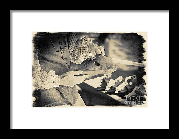 Black And White Framed Print featuring the photograph Colonial Shoemaker by Jan Tyler