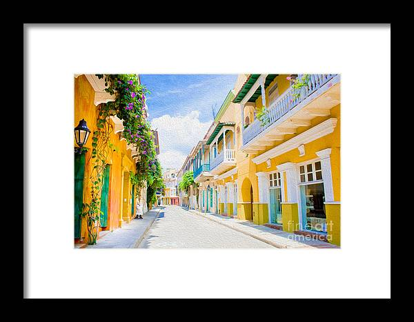 Cartagena Framed Print featuring the digital art Colonial Street - Cartagena De Indias by Kenneth Montgomery