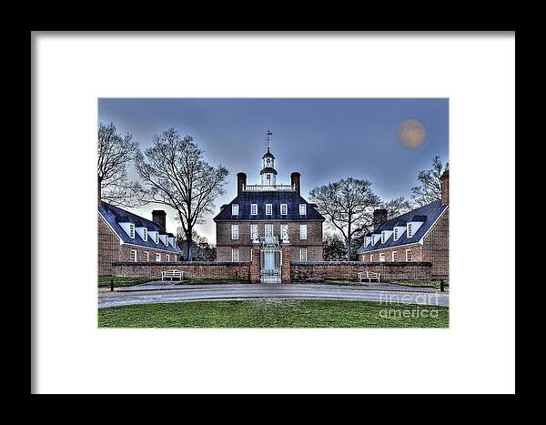 Landscape Framed Print featuring the photograph Colonial Williamsburg Governor's Palace Moonrise by Gene Bleile Photography