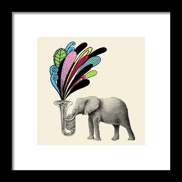Elephant Framed Print featuring the drawing Color Burst by Eric Fan