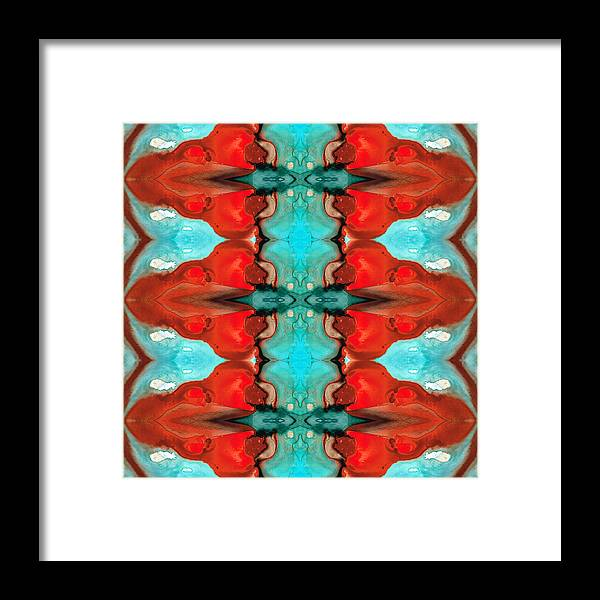 Abstract Framed Print featuring the painting Color Chant - Red And Aqua Pattern Art By Sharon Cummings by Sharon Cummings