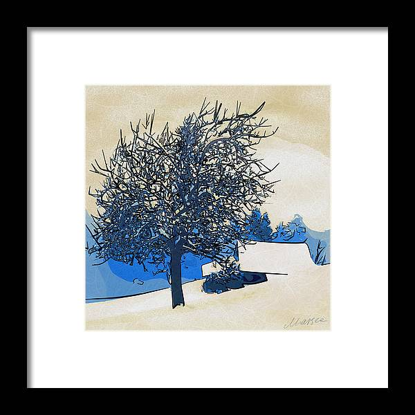 Winter Landscape Framed Print featuring the digital art Color Of Winter by Marina Likholat