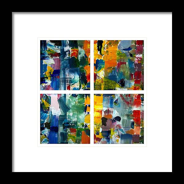 Abstract Collage Framed Print featuring the painting Color Relationships Collage by Michelle Calkins