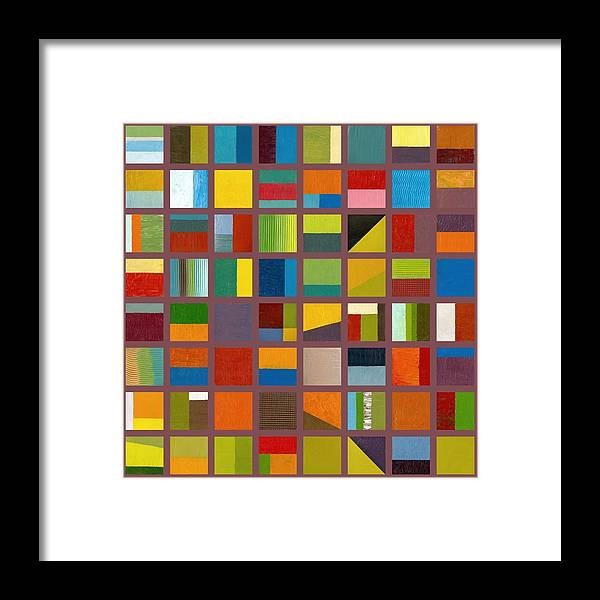 Abstract Framed Print featuring the painting Color Study Collage 65 by Michelle Calkins