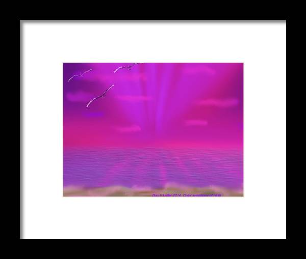 Night Sunset Clouds Colors Sea Water Waves Coast Birds Rays Framed Print featuring the digital art Color Symphony Of Night by Dr Loifer Vladimir