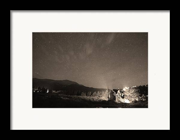Chapel On The Rock Framed Print featuring the photograph Colorado Chapel On The Rock Dreamy Night Sepia Sky by James BO Insogna