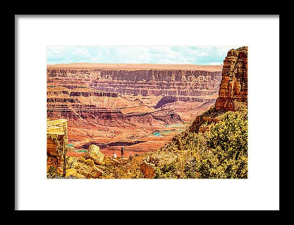 Grand Canyon Framed Print featuring the photograph Colorado River One Mile Below And 18 Miles Across The Grand Canyon by Bob and Nadine Johnston