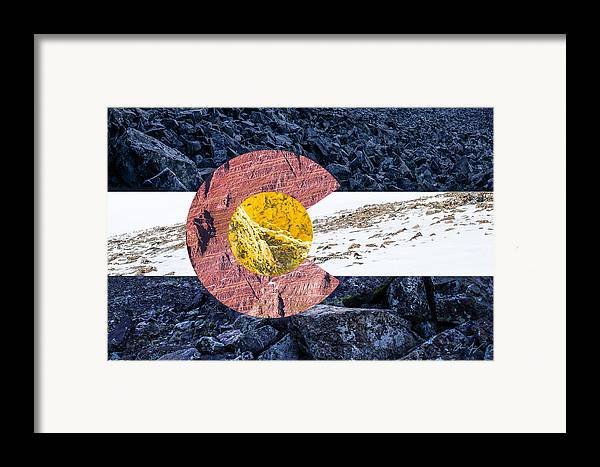 Colorado Framed Print featuring the photograph Colorado State Flag With Mountain Textures by Aaron Spong
