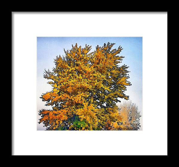 Tree Framed Print featuring the painting Colored Leaves On The Autumn Forest by Odon Czintos