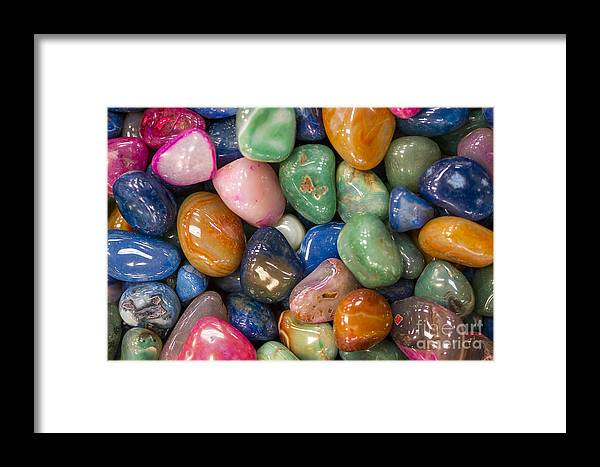 Gems Framed Print featuring the photograph Colored Polished Rocks by Steven Ralser